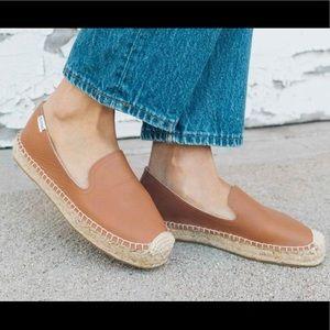 Soludos leather platform tan espadrilles. Size 6